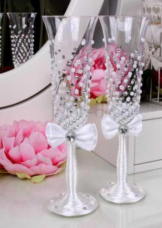 Украшение свадебных бокалов своими руками: 100 мастер классов