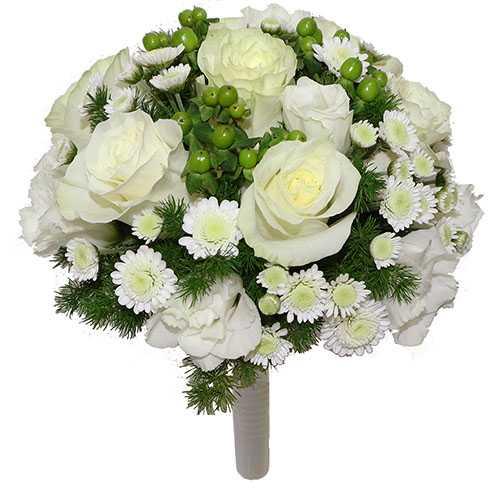 Свадебный букет из альстромерий и роз, хризантем, гербер (фото)